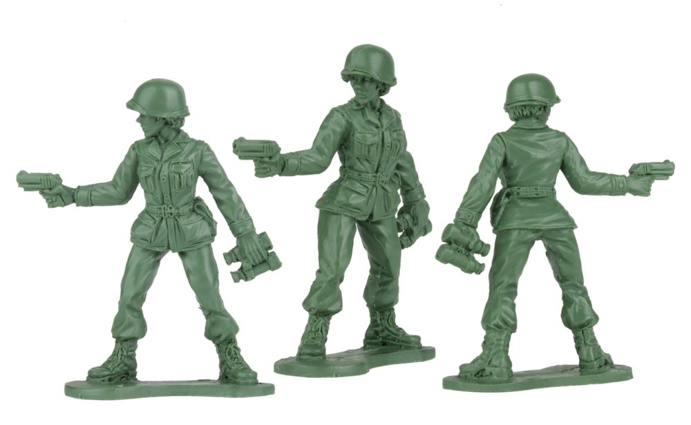 Pieces from a new line of plastic Army women toys by BMC Toys of Scranton, Pa., were inspired in part by a letter written by then 6-year-old Vivian Lord of Little Rock.  (Courtesy BMC Toys)