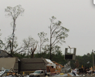 Footage of tornado damage in Mayflower, Arkansas