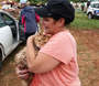 Raw video: Buckwheat, a cat that had been missing after a storm destroyed a mobile home in Nashville, was found the next day in a field adjacent to the demolished home and then reunited with his family.