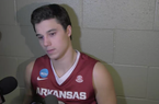 Dusty Hannahs on getting Arkansas back in the tournament, the non-charge call, Hogs' pressure and more